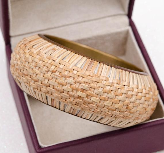 Wide cottagecore bracelet Raffia bracelet Straw b… - image 6