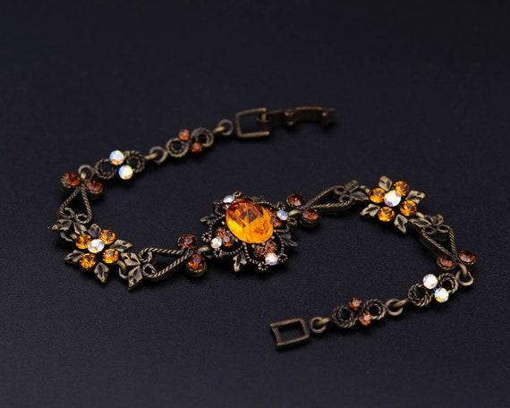 Topaz bracelet November birthstone Amber glass bra