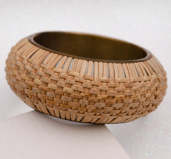Wide cottagecore bracelet Raffia bracelet Straw b… - image 8