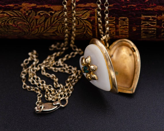 Mother of pearl locket Gold heart locket necklace… - image 3