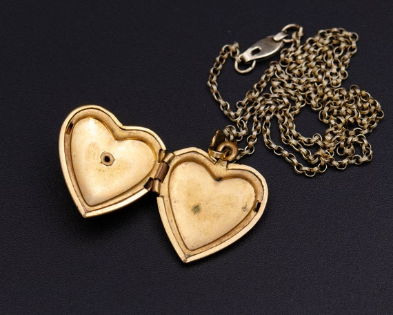 Mother of pearl locket Gold heart locket necklace… - image 5