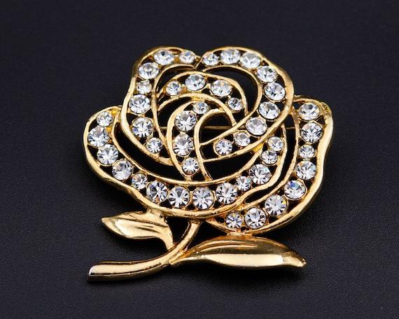Peony brooch Huge flower brooch Cottagecore gold … - image 4