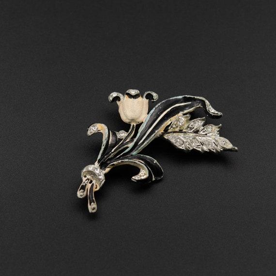 Tulip brooch, antique brooch enamel, cottagecore b