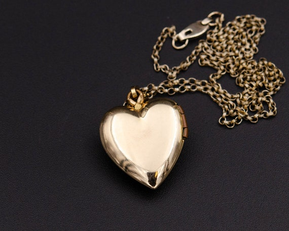 Mother of pearl locket Gold heart locket necklace… - image 6
