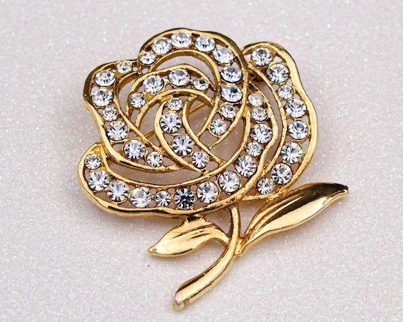 Peony brooch Huge flower brooch Cottagecore gold … - image 1