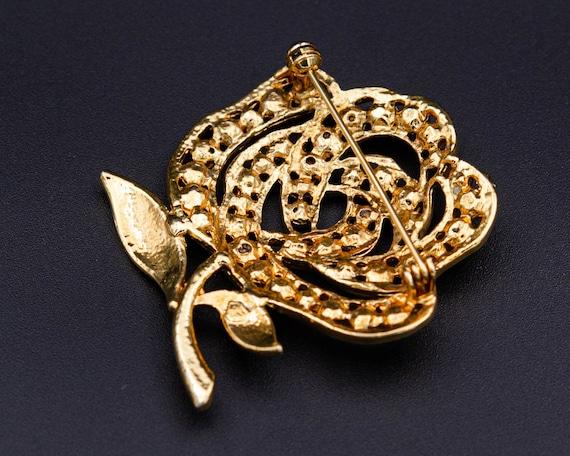 Peony brooch Huge flower brooch Cottagecore gold … - image 5