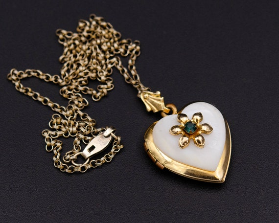 Mother of pearl locket Gold heart locket necklace… - image 10