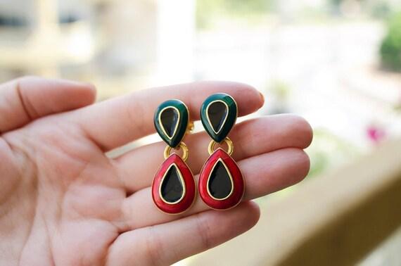 Long enamel earrings Xmas earrings Non pierced ear