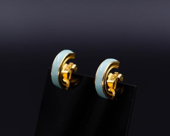 Enamel huggie earrings Thin hoop earrings Non pier