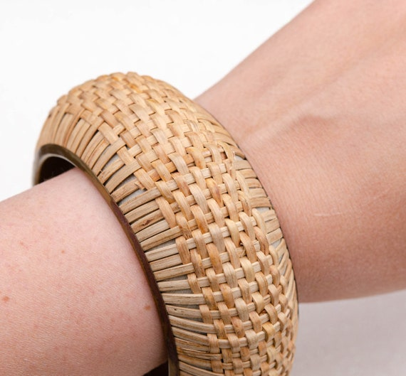 Wide cottagecore bracelet Raffia bracelet Straw b… - image 4