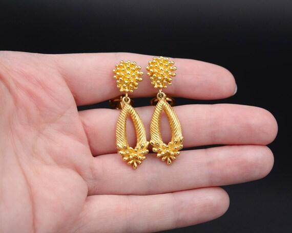 Trifari earrings Non pierced earrings Long teardr… - image 7