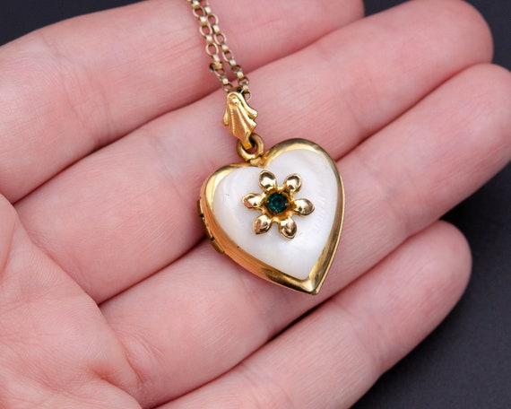 Mother of pearl locket Gold heart locket necklace… - image 7