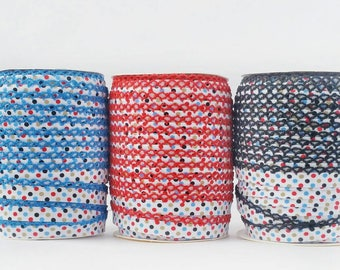 Crochet Bias Tape - Polka Dot Cotton - Double Fold Bias Tape -  PATRIOT Crochet Lace Trim - Red Blue Black Bias Binding - Sewing Supplies