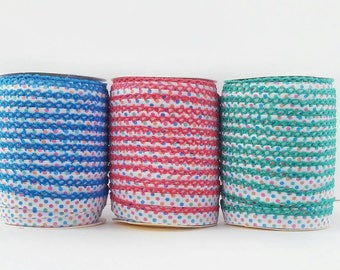 Polka Dot Crochet Edge Bias Tape - Double Fold - BUBBLEGUM - Blue Pink Green Lace Trim - Quilt Binding - Sewing Notions - Cotton Bias Tape