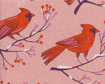 Cotton + Steel Frost - Winter Cardinals in Pink - Quilting Cotton - Fabric by the Yard - Christmas Fabric