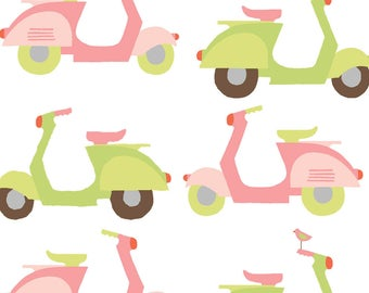 Organic Cotton Fabric by the Yard - Monaluna  Scoot Scoot - White Cotton Poplin - Scooter Travel Fabric - Pink Green Italian Scooter Fabric