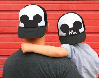 87bfdc0f family Disney Mickey Trucker hats - dad and son caps - Personalized Mickey  trucker hat - Mickeymouse ears - disney world Mickey mouse