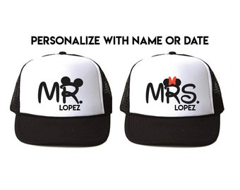 0148b56200a Personalized Mr and Mrs Disney Trucker hats - engagement gift -  Personalized Mickey and Minnie cap - Mickeymouse ears - disneyworld couples