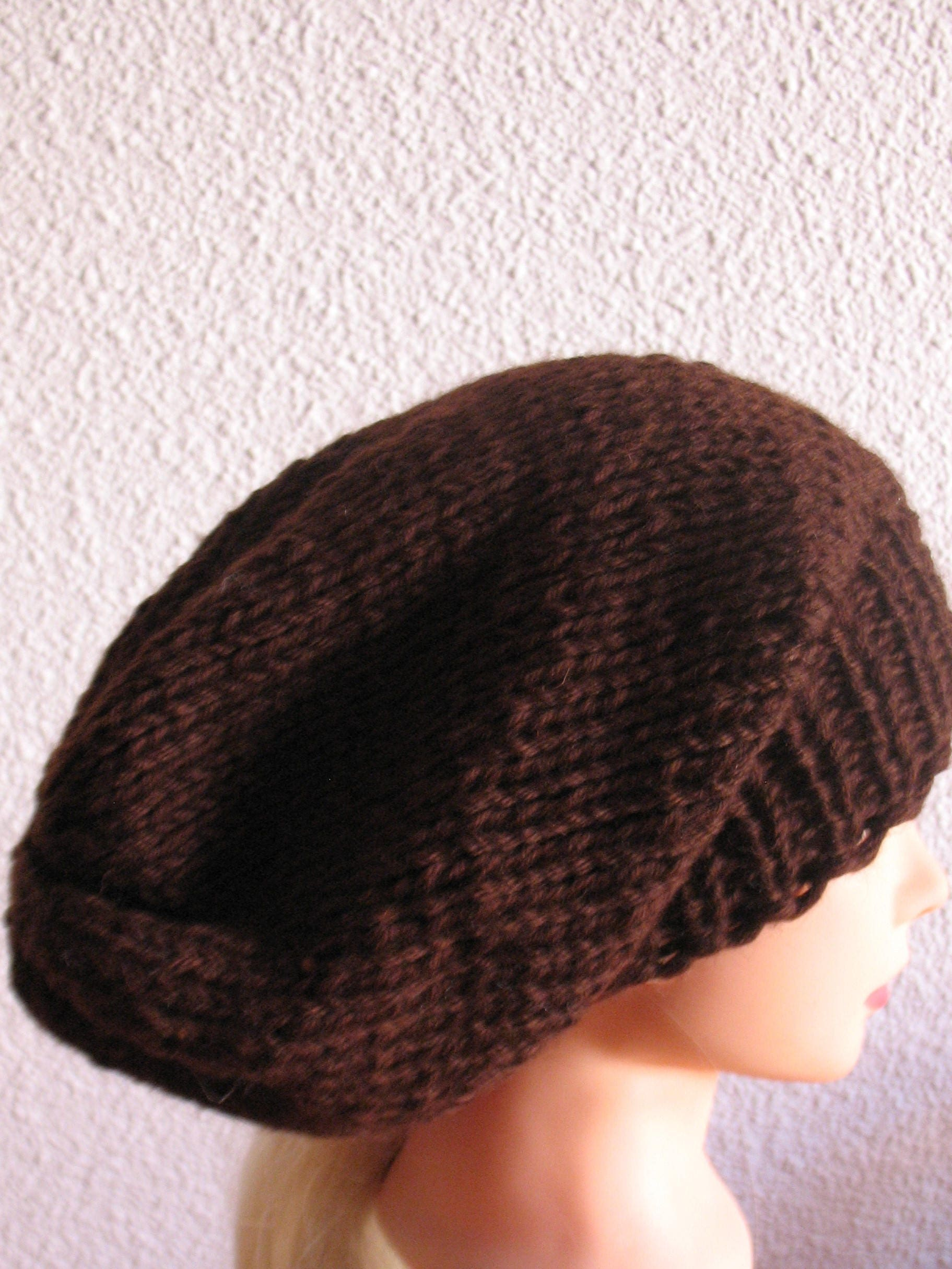 aea8206d384 Hand knit hat Oversized Chunky Wool Hat brown hat slouchy