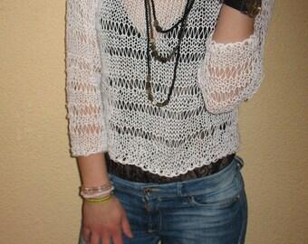 Hand knit sweater, cotton , woman sweater ,  white sweater, knit pullover ,sweater pullover, sweater cotton  soft