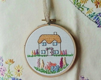 Floral Cottage Hoop Art   Hand Embroidered   Flower Embroidery   Country Flowers   Wall Art   Wall Hanging   Home Decor   Gift  