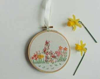 Bunny Hoop Art | Hand Embroidered | Applique | Embroidered Hoop Art | Flower Embroidery | Springtime | Gift | Wall Art | Home Decor |