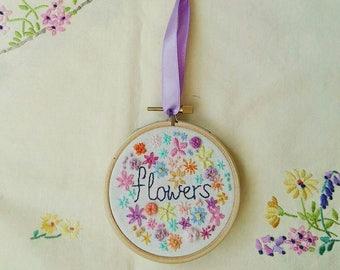 Flowers Hoop Art | Hand Embroidery | Modern Embroidery | Flower Embroidery | Summer | Wall Art | Wall Hanging | Home Decor | |