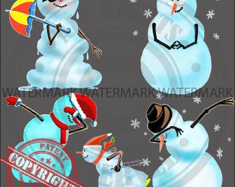 Snowman Clip art - Christmas Ugly Sweaters - Clipart PNG Illustration - Instant Download - Personal and Commercial Use
