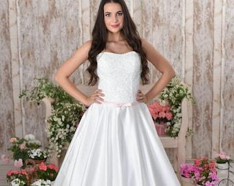 Dropped waist satin wedding dress