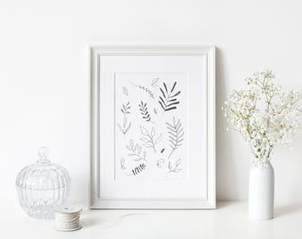 Black and white leaf - handmade