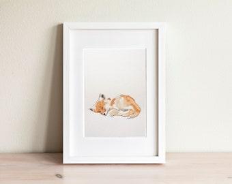 Fox watercolor illustration - handmade