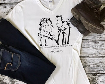 "Gilmore Girls Luke & Lorelai ""I'm All In"" V-Neck Tee"