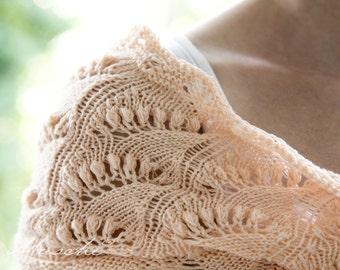 Möbius scarf with lily of the likech pattern | salmon | Bolero, Scarf, Tube Scarf, Circle Scarf, Stole, Snood, Loop, Tube, Shrug, Cardigan