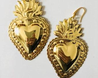 Orecchini Cuore Sacro, orecchini grandi, orecchini leggeri, orecchini cuore, cuore dorato,
