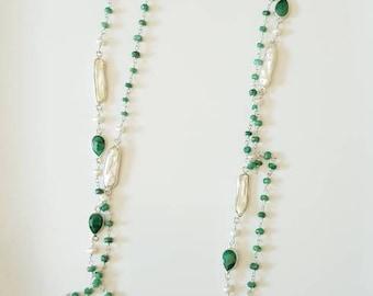 f7ca28918aa350 Long collier d'argent avec la racine d'émeraude et la mère des colliers  faits à la main de perle, cadeaux pour elle, colliers durs de pierre, vert,  ...