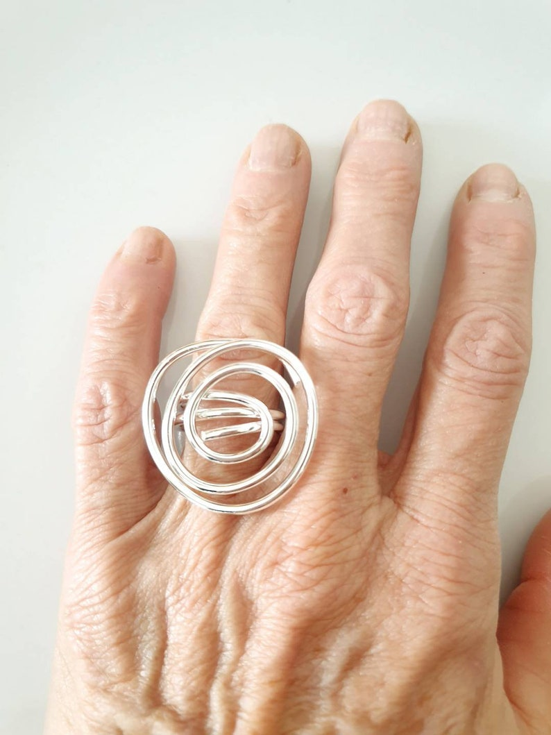 made in Italy handmade rings handmade sprirale Italian crafts ring unique piece wire rings Silver wire ring