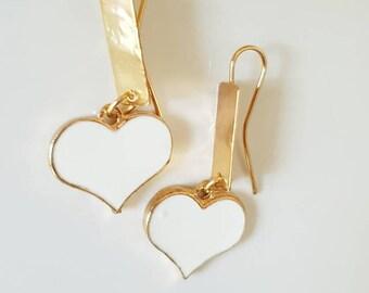 Heart earring, brassearrings, whiteheartearrings