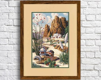 Counted Cross Stitch Pattern Southwest mesa Landscape Pattern Hand Embroidery Needlepoint chart Grand Canyon Desert Cactus Ceramic tableware