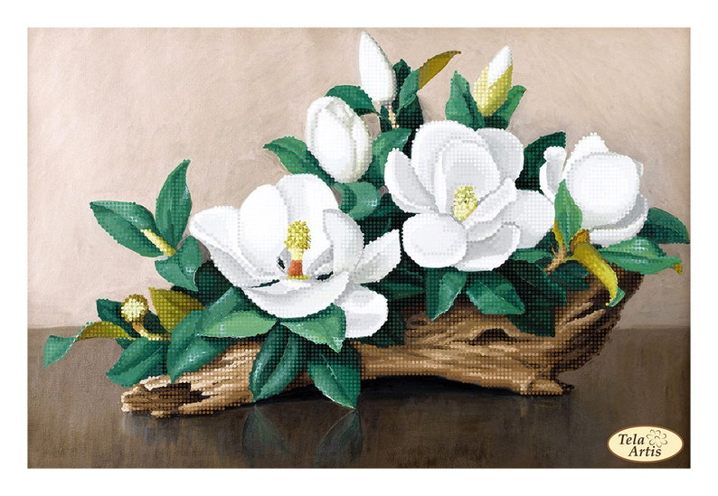 Gentle magnolias Bead Embroidery kit Needlework Kit Floral Beadwork Hand embroidery Home stitching decor Beading pattern Embroidery bead