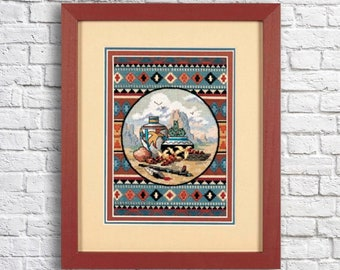 Counted Cross Stitch Pattern Southwest Blend Landscape Pattern Hand Embroidery Needlepoint Grand Canyon Desert Cactus Ceramic tableware