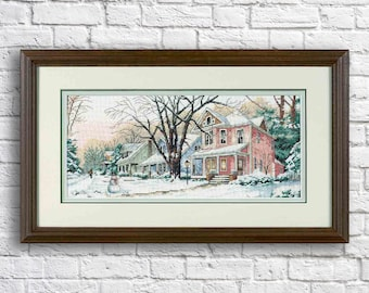 Winter on Main Street Counted Cross Stitch Pattern Christmas Village Winter Landscape Hand Embroidery Needlepoint Chart Cottage PDF