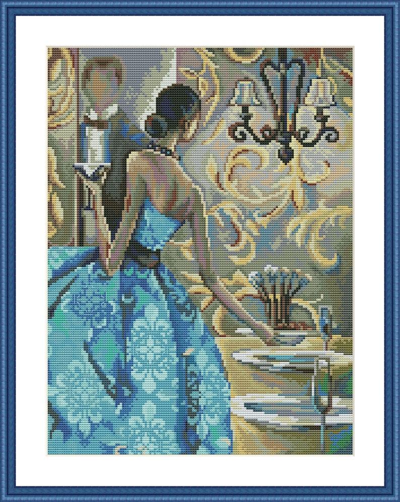 Elegant woman Cross Stitch Pattern Lady Blue Dress Digital Pattern Modern Wall Decor Pattern Woman Embroidery Needlepoint PDF Restaurant