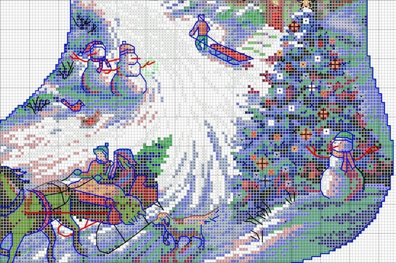 Sleigh Ride Chart Counted Cross Stitch Patterns Needlework DIY DMC Color