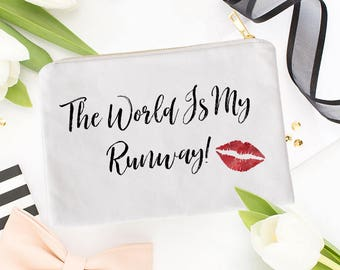 cb1f238dc47f The World Is My Runway, Cosmetic Bag, Make Up Bag, Cabin Crew Gift, World  Traveler, Personalized, Monogrammed, Gifts For Her, Wanderlust