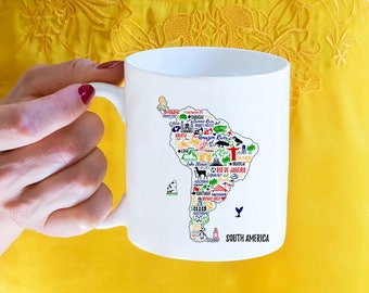 South America, Coffee Mug, South American, Travel, Mission, Spanish, Gift For Her, Gift For Him, Stocking Stuffer, CoWorker Gift,