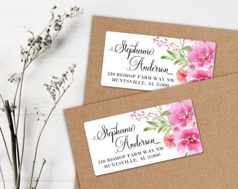 Custom Address Labels or Stickers Red Camellia