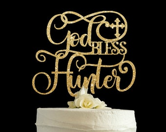 God bless cake topper, first communion cake topper, baptism cake topper, christening cake topper, glitter cake topper, baptism cake