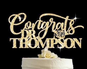Congrats Dr Graduation Cake Topper Doctor Graduate Decoration Gold Prom