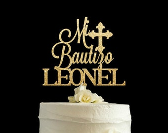 Bautizo cake topper, baptism cake topper, Mi Bautizo cake topper, christening cake topper, glitter cake topper, cake decor.
