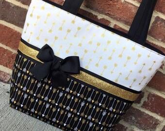 Black & Gold Arrow Handbag, Purse, Tote, Custom, Handmade, Ready to Ship, Free Shipping